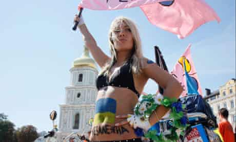 Femen activisits at a protest in Kiev in 2010
