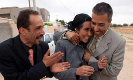 Fedia Hamdi celebrates after being released from prison last Wednesday.