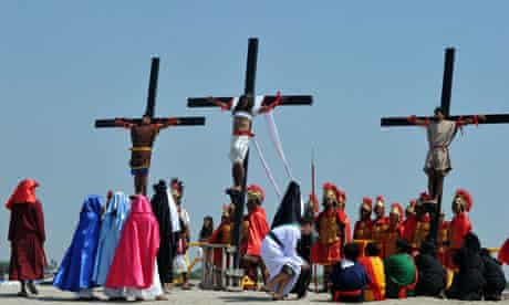 Philippine Christian devotees are nailed to the cross