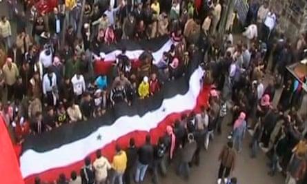 Protesters in Deraa
