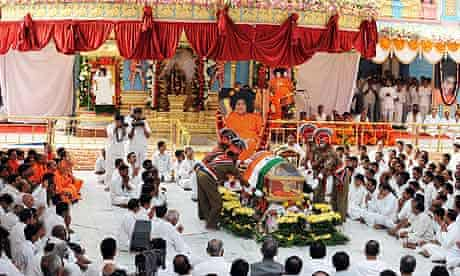 Sai Baba's funeral at the Prashanthi Nilayam ashram in Puttaparthi, near Bangalore.