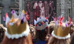 Royal wedding on a large screen at St Andrews University