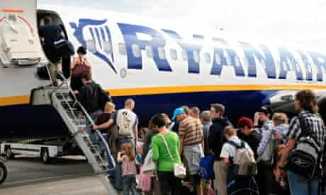 Passengers boarding a Ryanair plane