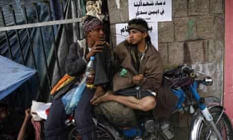 Yemeni youths chew qat in Sana'a