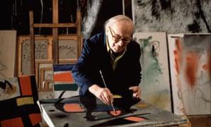 Surrealist painter Juan Miro in his workshop