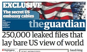 Guardian front page with WikiLeaks