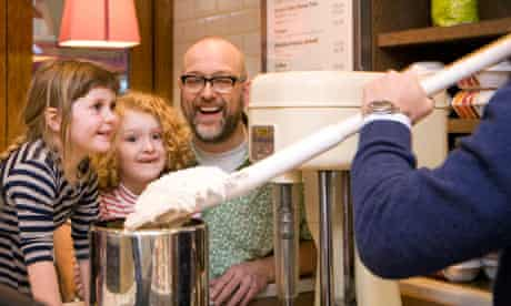 Tim Hayward and daughter Liberty try out an ice-cream making class