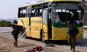 Israeli school bus after attack