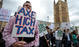 A protester calls for lower taxes during the rally against debt in Westminster.