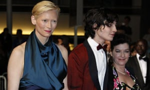 Lynne Ramsay, right, with Tilda Swinton and Ezra Miller, who star in We Need To Talk About Kevin.