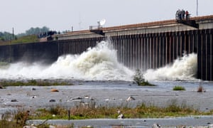 Water diverted from the Mississippi gushes through the Morganza spillway