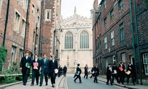 Eton school boys make their way to class
