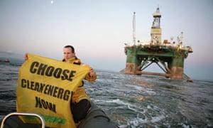 Greenpeace activists protect against Arctic oil exploration