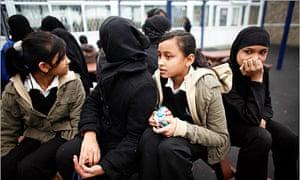 Pupils at Grange School in Oldham in 2007 - the study says children still face segregation.