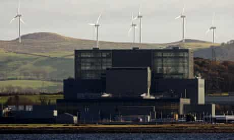 A windfarm near Hunterston power station in Largs, Scotland