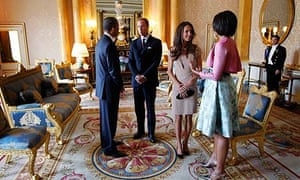 The Obamas meet the Duke and Duchess of Cambridge at Buckingham Palace.