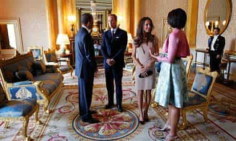 The Obamas meet the Duke and Duchess of Cambridge at Buckingham Palace.