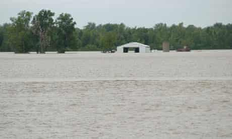 A flooded farm along the Mississippi River is seen in Cairo, Illinois