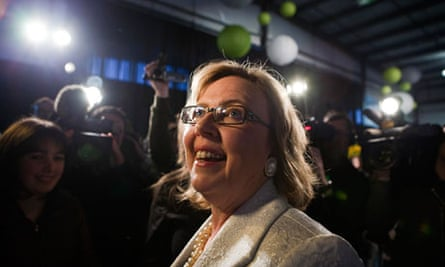 Leader of the Green Party of Canada Elizabeth May celebrates winning the Saanich-Gulf Islands seat