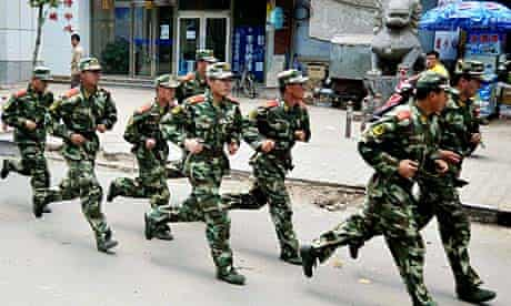 Chinese police officers on the streets of Hohhot, Inner Mongolia.