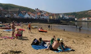 A crowd of holidaymakers in north Yorkshire