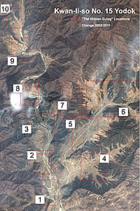 A satellite image showing the area of political prison camps 15 in central North Korea.
