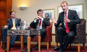 Tavish Scott, right, on the campaign trail in April with MSP Michael Moore, centre, and Nick Clegg.