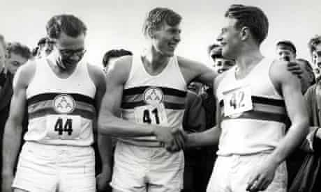 Roger Bannister with Chris Brasher (left) and Chris Chataway