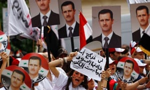 Supporters of Syria's President Bashar al-Assad