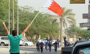 Protesters march in Duraz village, north of the capital Manama