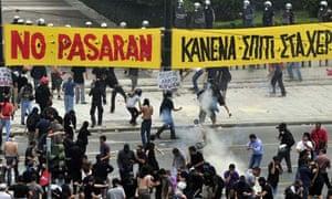 Greece general strike confrontaion