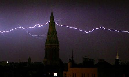 Lightning strikes near a church in south London.