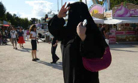 Woman wearing a niqab in France