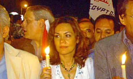 Bothaina Kamel at a candlelight vigil