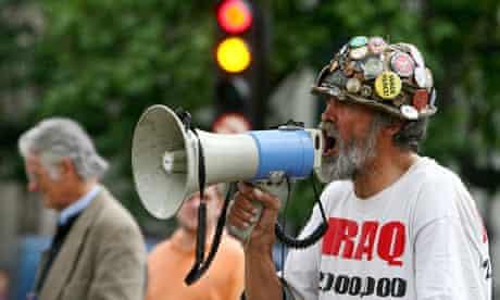 Peace protester Brian Haw makes his voice heard, 2009