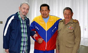 Chávez is visited by Cuba's President Raul Castro (r) and Fidel Castro
