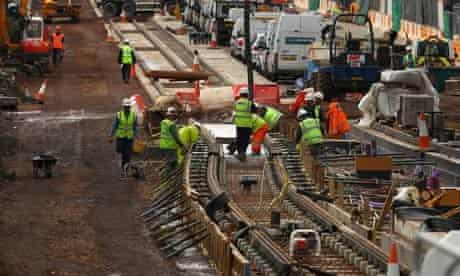 Workmen on the Edinburgh tram project