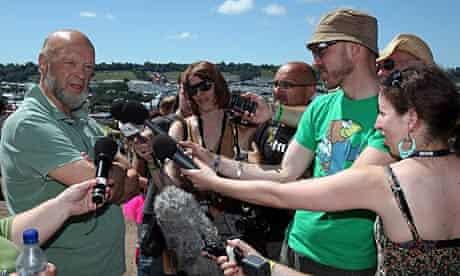 Michael Eavis speaks to the media at Glastonbury.