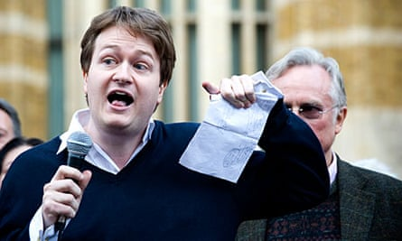 Johann Hari protesting the state visit of Pope Benedict XVI to the UK, last year.
