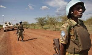 Zambian peacekeepers patrol in Abyei, Sudan