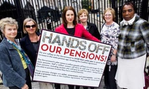Rachel Reeves, shadow minister for pensions, with protestors against the state pension age increase.
