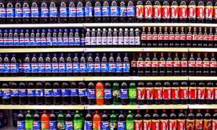 Soft drinks on supermarket shelf