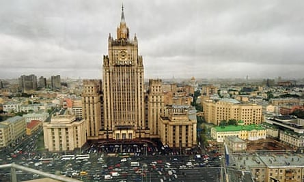 Traffic eases past the foreign ministry in Moscow.