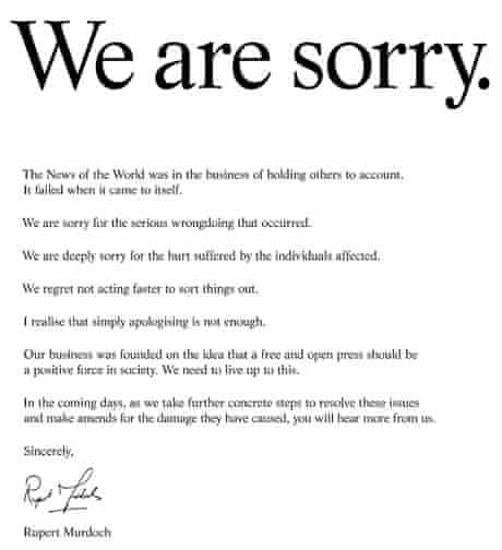 Rupert Murdoch says 'sorry' in advertisement