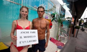 Models protest, Milan, Italy
