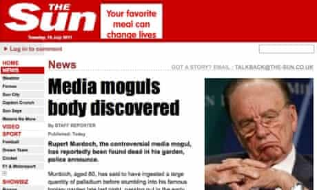Hackers organise a redirect of the Sun homepage