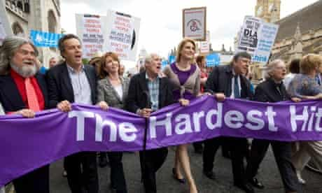 Protesters demonstrate against cuts to disability benefits
