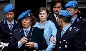 Amanda Knox is led away from Perugia's court of appeal in November last year