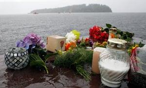 Flowers laid near Utøya island, Norway