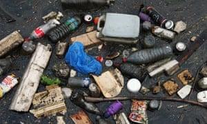 Rubbish on the River Lea in Hackney.